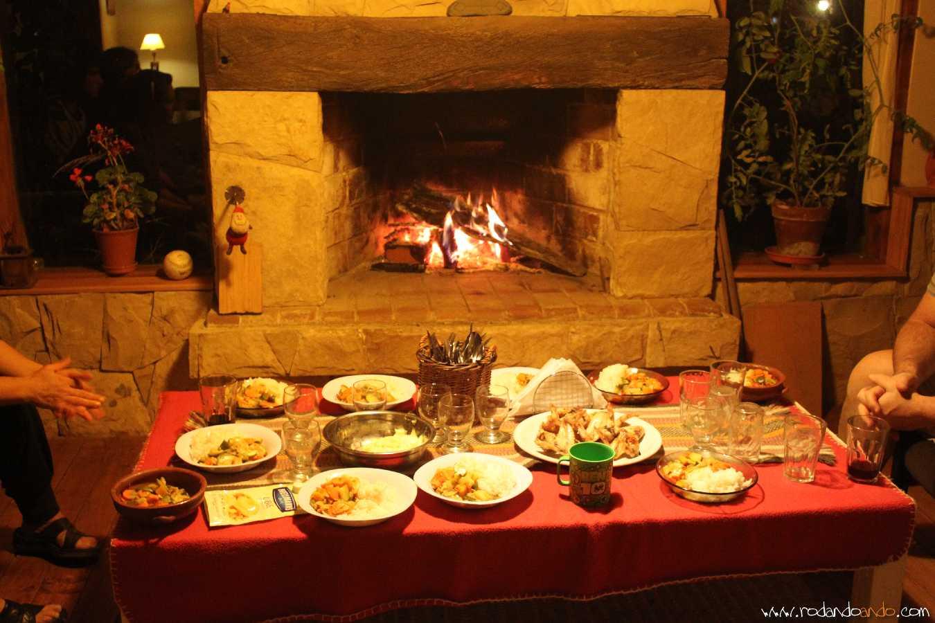 Una hermosa cena, y a pesar de estar en Febrero hacía frío a la noche